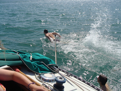 Swimming off the boat in Priory Bay