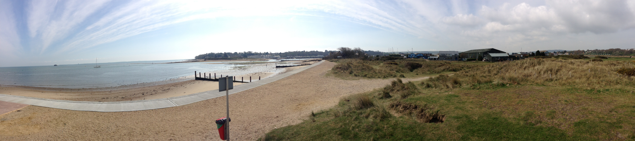 Panoramic view of the beach at Bembridge