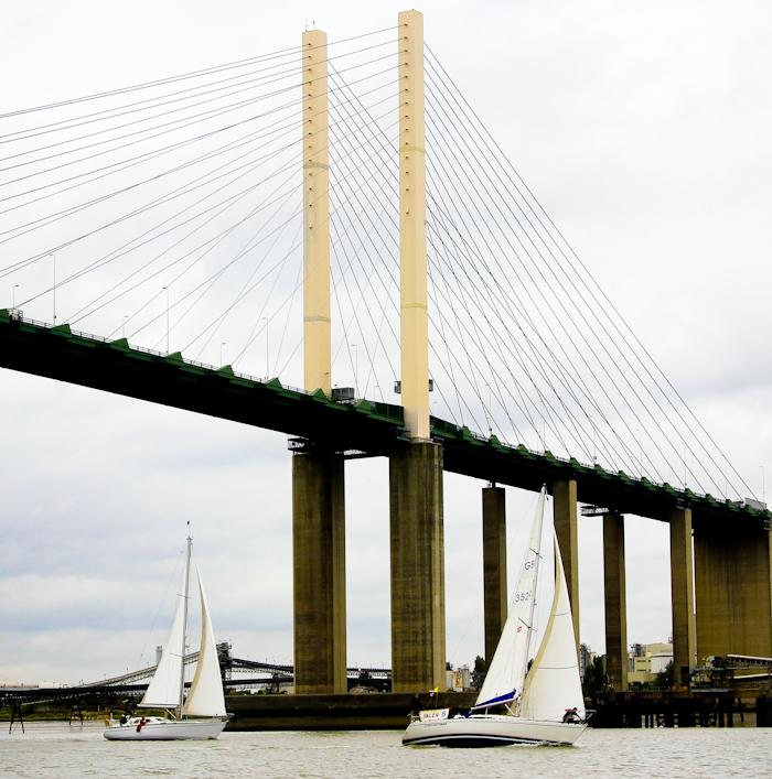 Under the Queen Elizabeth Bridge, Dartford, Thames Trafalgar Race 2016 (Sally Armstrong)