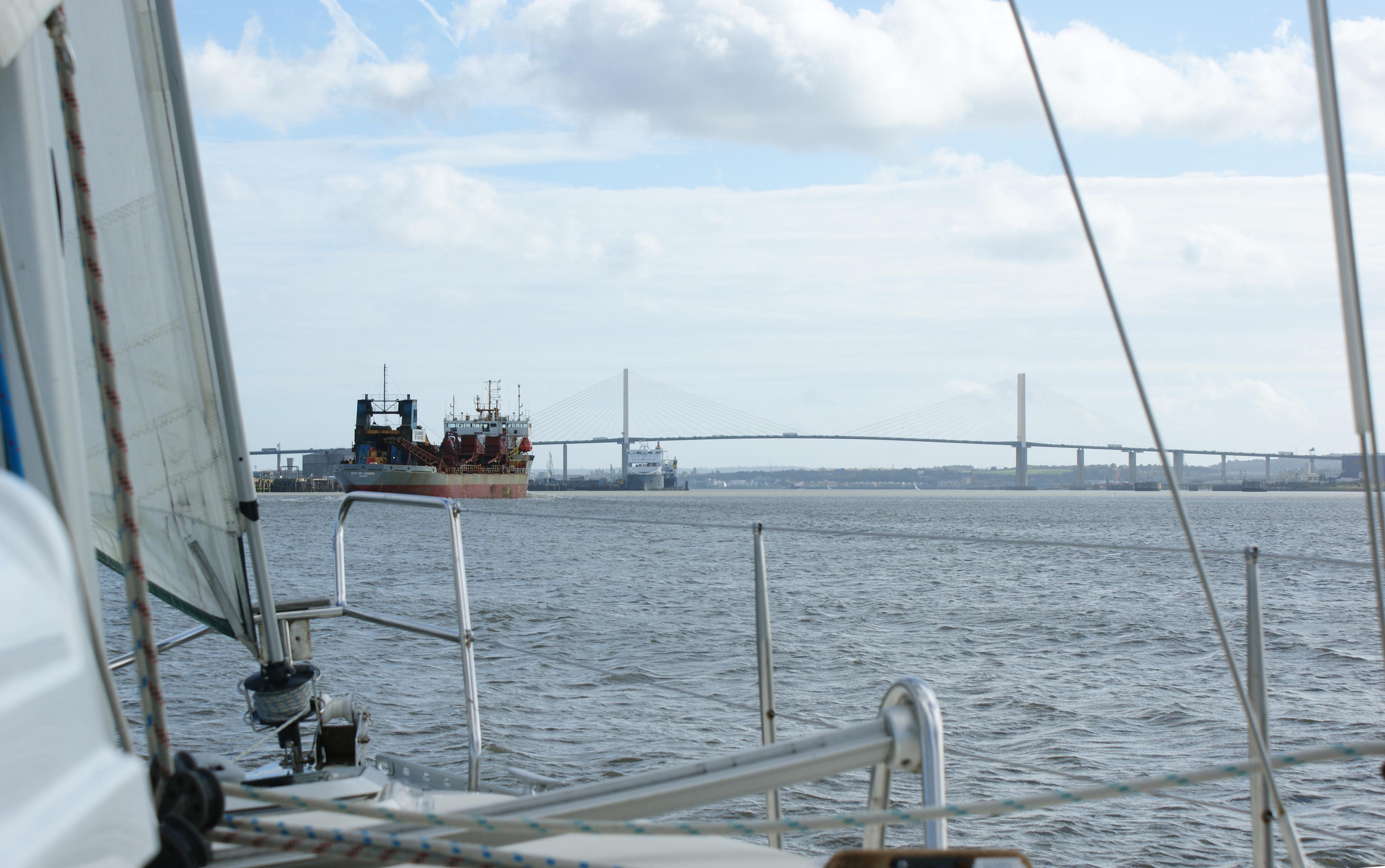 Passing under QE2 Bridge