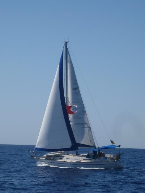 SY IBIS II, Sadler34, under sail to Israel, June 2008