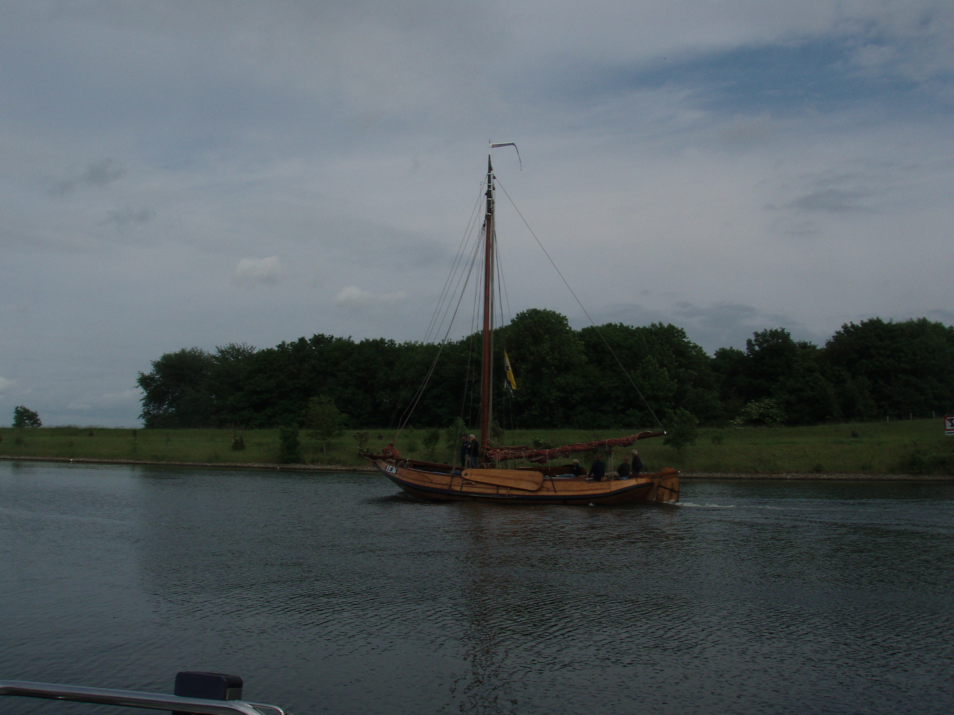 Barge passing Veere Marina