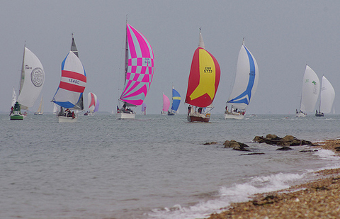 JOG offshore fleet heading to the finish in the Solent