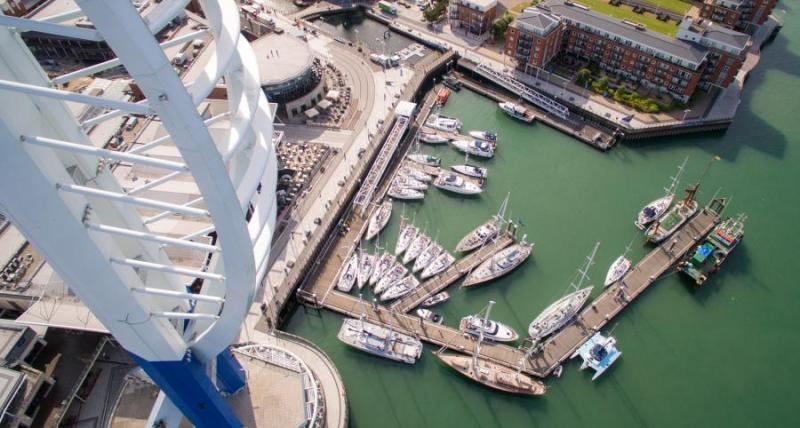 Aerial View of Gunwharf Quays Marina