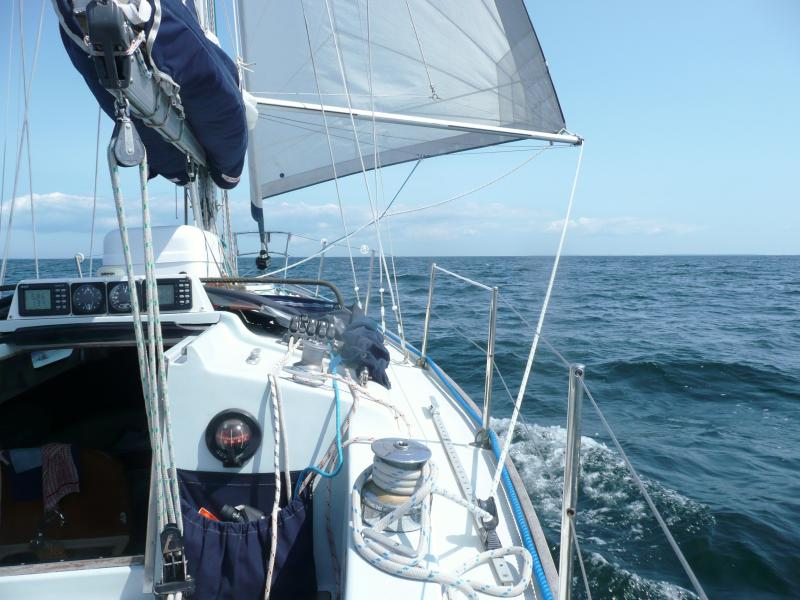 Sailing in the Baltic under poled out head sail