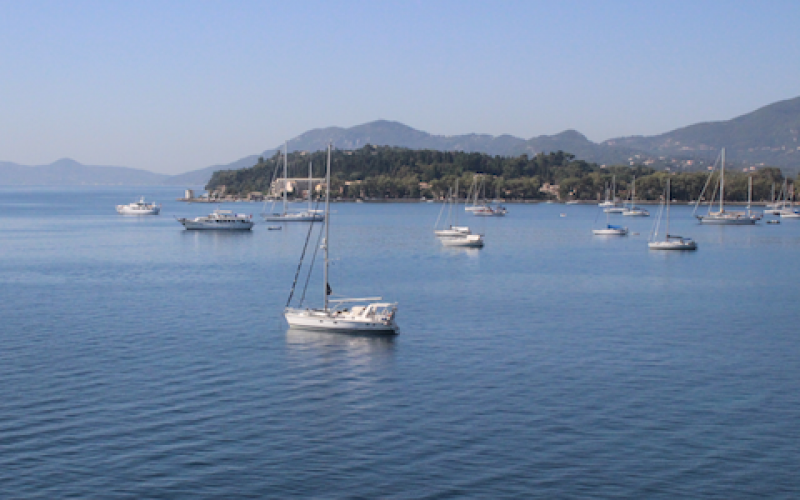 Tosca, owned by Michael Powell, is pictured here anchored in Corfu