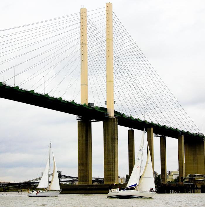 Under the Queen Elizabeth Bridge, Dartford, Thames Trafalgar Race 2016 (Sally Armstrong)