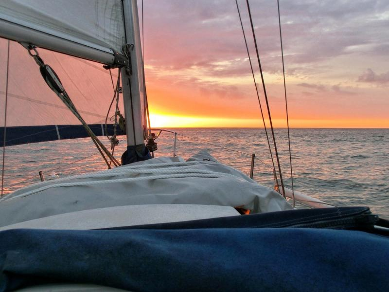 Silver Pearl sails into the sunset Sadler 26 Little Ship Club