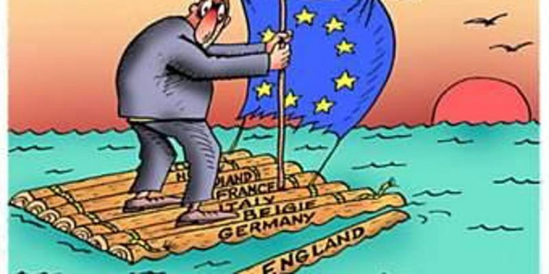 cartoon image  Brexit raft floating into the sunset